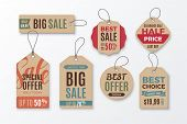 Set Of Cardboard Sale Tags With Text - Big Sale, Special Offer, Half Price, Best Choice. Vector Vint poster