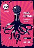 Music Poster With Octopus And Microphone. Rap And Rock Party Illustration. poster