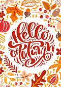 Greeting Card With Text Hello Autumn. Orange Leaves Of Maple, September, October Or November Foliage poster