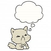 cartoon angry cat with thought bubble poster