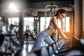 Young Sexy Girl In The Gym.attractive Fitness Woman, Trained Female Body, Lifestyle Portrait, Asian  poster