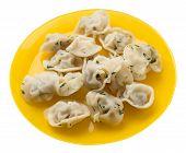 Dumplings On A Yellow  Plate Isolated On White Background .boiled Dumplings.meat Dumplings Top Side  poster