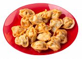 Dumplings On A Red  Plate Isolated On White Background. Dumplings In Tomato Sauce. Dumplings Top Sid poster