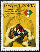 Hungary - Circa 1982: A Stamp Printed By Hungary, Devoted First Rubik's Cube World Championship, Bud