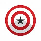 American Superhero Shield With Star. Red Round Superhero Shield With Shadow. Flat Style Red Color Am poster