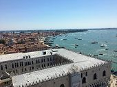 A View From The Top Of St Marks Campanile In St Marks Square Of Doges Palace And The Grand Canal In  poster