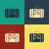 Color Suitcase For Travel And Stickers Icon Isolated On Color Background. Traveling Baggage Sign. Tr poster