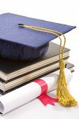 image of graduation hat  - the hat and diploma on the white - JPG