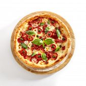 Pizza Margarita or Margherita with Cherry Tomatoes, Mozzarella Cheese and Tomato Sauce Isolated on W poster
