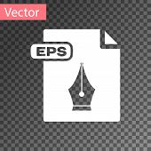 White Eps File Document. Download Eps Button Icon Isolated On Transparent Background. Eps File Symbo poster
