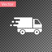 White Delivery Truck In Movement Icon Isolated On Transparent Background. Fast Shipping Delivery Tru poster