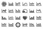 Financial Chart Icons. Set Of Candle Stick Graph, Report Diagram And Infochart Icons. Growth, Trade  poster