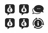 Dollar, Euro, Pound And Yen Speech Bubbles Symbols. Chat, Info Sign. Money Bag Icons. Usd, Eur, Gbp  poster