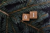 Advent Calendar. Countdown To Christmas. Wooden Numbers. Number One. Christmas Background. Winter Ba poster