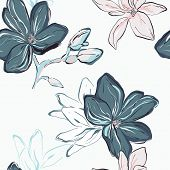 Seamless Blue Navy Vector Floral Pattern. Tender Blue Flowers On White Background. Floral Botany Art poster