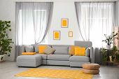 Living Room With Comfortable Sofa And Stylish Decor. Idea For Interior Design poster