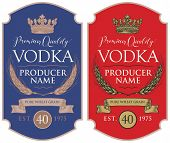 Set Of Two Vector Labels For Vodka In The Figured Frame With Crown, Ears Of Wheat, Ribbon And Inscri poster