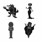 Vector Design Of Creature And Devilry Logo. Collection Of Creature And Halloween Vector Icon For Sto poster