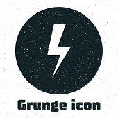 Grunge Lightning Bolt Icon Isolated On White Background. Flash Icon. Charge Flash Icon. Thunder Bolt poster