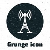 Grunge Antenna Icon Isolated On White Background. Radio Antenna Wireless. Technology And Network Sig poster
