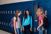 Candid photo of Three Junior High school Students talking together in a school hallway. Diverse Fema poster