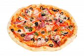 pic of hot fresh pizza  - colorful tasty pizza with olives - JPG