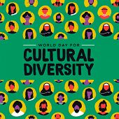 Cultural Diversity Day Greeting Card Illustration. Diverse Social Group Of People Includes Muslim, A poster