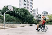 Handicapped Man In Wheelchair Throwing Ball To Basket Alone, Concept Of Adaptive Sports And Physical poster