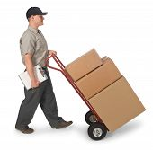 pic of delivery-truck  - Delivery man pushing hand truck with boxes isolated on a white background with clipping path - JPG