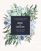 Vector Greeting Card With High Detailed Greenery poster