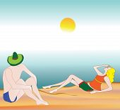 Illustration of a couple relaxing on the beach
