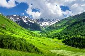 Mountains. Beautiful Landscape Of Mountain Valley. Scenic Mountains. Amazing Green Mountain Valley.  poster