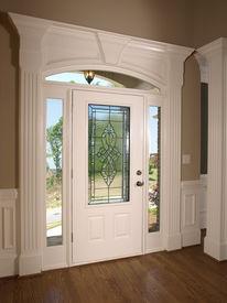 pic of front door  - Luxury Model Home stained glass front door - JPG