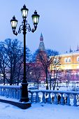 Alexander Garden In Winter Snowing Evening, Moscow