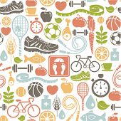 foto of dumbbells  - seamless pattern with healthy lifestyle icons - JPG