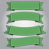 Set Of Green Ribbon Banners