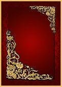 Antique, vintage red frame, floral wallpaper ornament