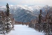 stock photo of sakhalin  - Winter forest hills Yuzhno Sakhalinsk Sakhalin Russia - JPG