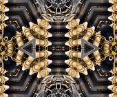Kaleidoscopic metal pipe assembly techno pattern