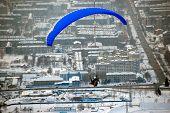 stock photo of sakhalin  - Sakhalin paragliding city view Yuzhno - JPG