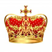 Royal Gold Crown With Red Precious Stones