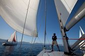 SARONIC GULF, GREECE - SEPTEMBER 24: Unidentified sailors participates in sailing regatta