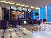 Renderização 3D Hall de recepção
