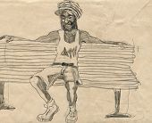 picture of rastaman  - A hand drawn illustration of an rastaman  - JPG