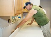 Contractor Installs Laminate Counter