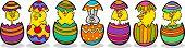 Galinhas na Páscoa ovos Cartoon ilustração