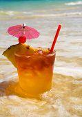 Tropical Maitai Cocktail At The Beach