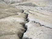 Mud volcanoes wide landscape - strange geological phenomenon
