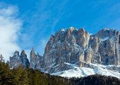 Beautiful Winter Rocky Mountain Landscape (great Dolomites Road).
