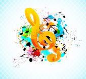 picture of g clef  - Music background with g - JPG